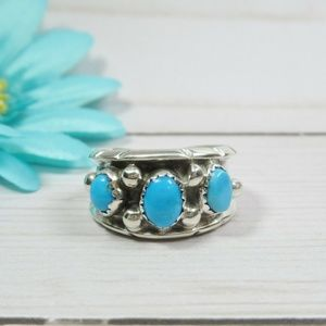 Sterling Silver Ring Cabochon Turquoise Signed ML